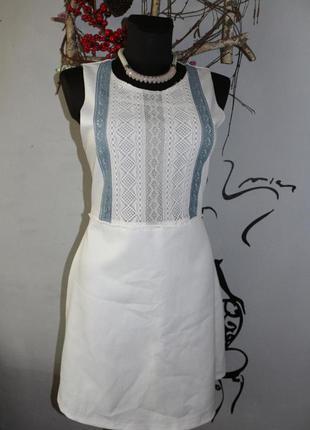 Белое платье трапеция zara м
