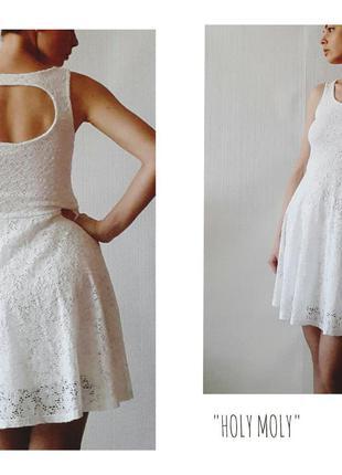 Гипюровое белое платье с красивой спинкой от zebra р.м