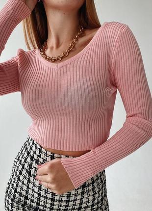 Розовый гольфик свитер кофта в рубчик