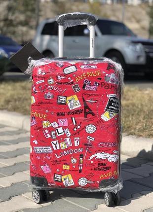 Пластиковый чемодан из поликарбоната с принтом красный  для ручной клади франция