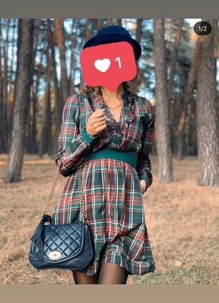 Платье рубашка s зелено-красное короткое длинный рукав