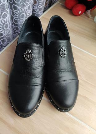 Кожаные туфли лоферы 37 р.
