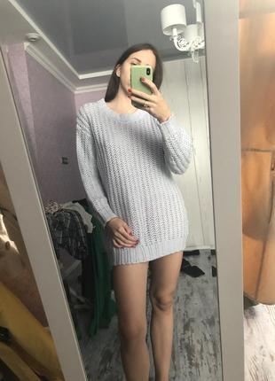 Голубой свитер оверсайз xs s m hm