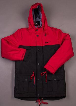 Мужская зимняя парка nike красная с чёрным тёплая наложенный платёж купить