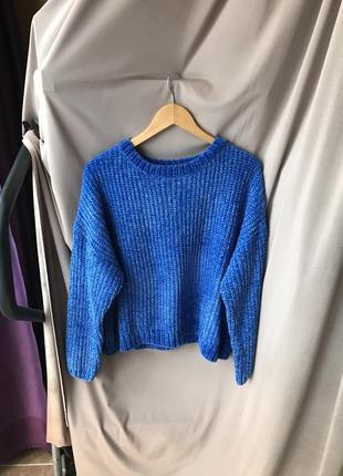 Тёплый вязаный синий укорочений мягкий свитер кофта primark разм 42/44 худи новый