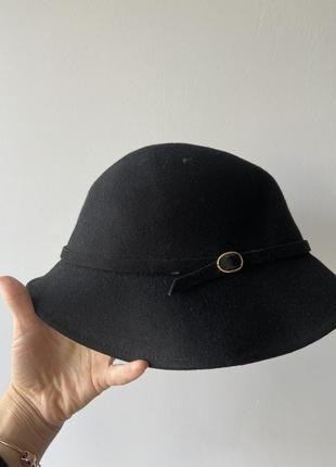 Чёрная фетровая шляпа 100% шерсть