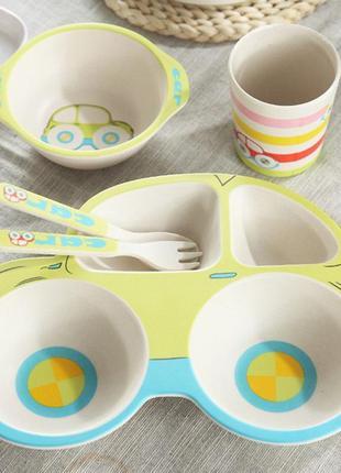 Детская бамбуковая посуда «машинки»