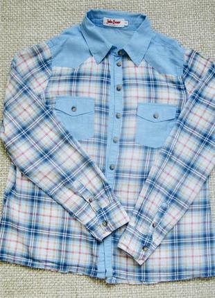 Голуба сорочка в клітинку jeanswear від john baner