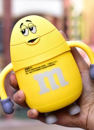 Термос детский с трубочкой m&ms желтый