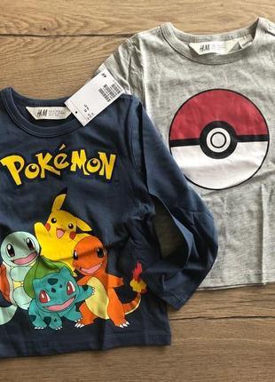 Реглан футболка длинным рукавом 92 покемон покемоны pokemon кофточка