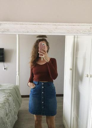 Тренд джинсава спідниця від h&m на гудзиках з кишенями