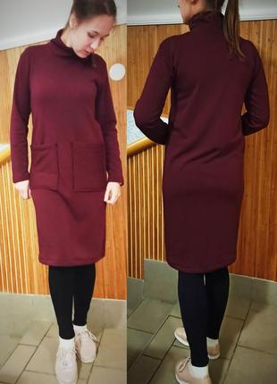 Бордовое платье на меху