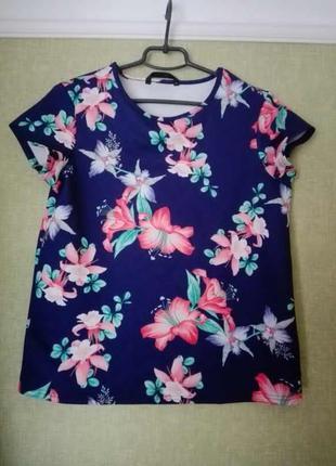 Шикарная блузка в цветы из тонкого неопрена от dunnes