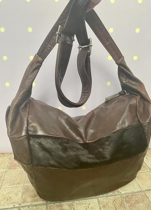 Большая, кожаная сумка-мешок, италия