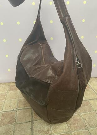 Большая, кожаная сумка-мешок, италия2 фото