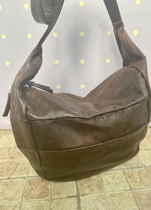 Большая, кожаная сумка-мешок, италия3 фото