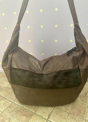 Большая, кожаная сумка-мешок, италия7 фото
