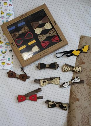 Бабочка деревянная на резинке для мальчика nekibuki