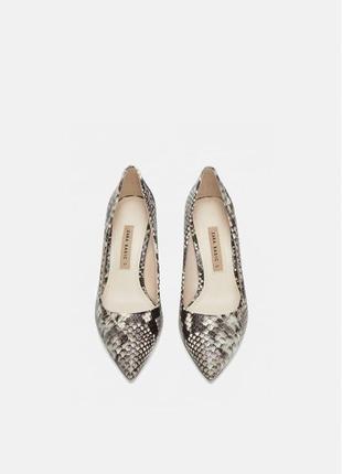 Кожаные туфли лодочки zara