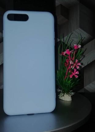 Силиконовый чехол для iphone 8 plus голубой