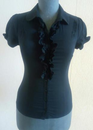 Чорна фірмова рубашка, блузка короткий рукав (orsay)