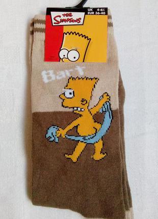 Стильные, прикольные носки с бартом симпсоном. размер - 36-40. новые!