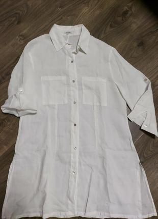 Белоснежная льняная туника рубашка