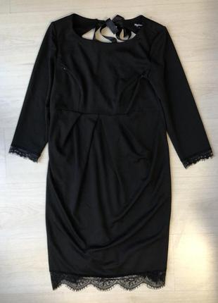 Чёрное кружевное платье карандаш миди кружево my secret