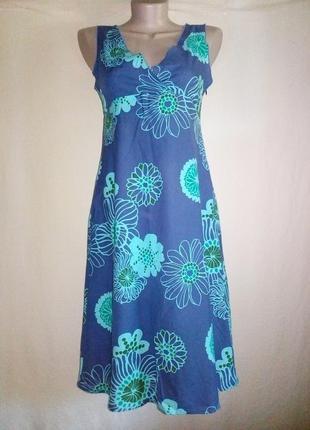 Платье хлопковое миди принт крупные цветы