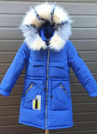 Зимняя парка куртка пуховик для девочки 36-42