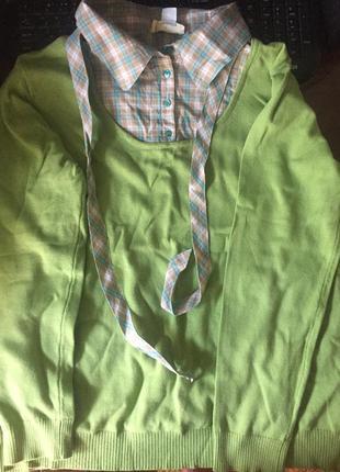 Кофта с вшитым воротником-рубашкой