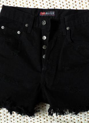 Черные плотные шорты motor! высокая талия,26-й размер,100% хлопок, турция, торг