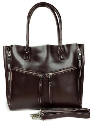 """Женская кожаная сумка """"margaret"""" темно-коричневая"""