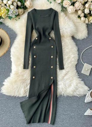 Длинное платье в рубчик цвета хаки, платье-лапша с боковым разрезом в британском стиле