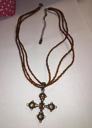 Подвеска из бисера и камней ожерелье колье с крестиком