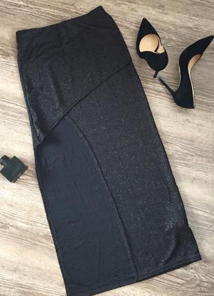 Новая стильная асимметричная черная  вечерняя юбка в пол с разрезом на ноге oodji, s
