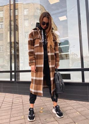 Абсолютный хит 💥 📌удлиненное пальто рубашка  из шерсти в крупную клетку oversize