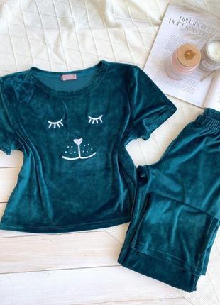 Плюшевая изумрудная пижама футболка и штаны, піжама, комплект для дома