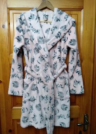 Женский халат с капюшоном и милыми енотами george размер 36-40