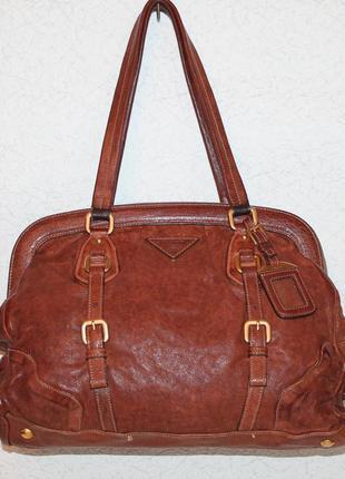 Prada framed leather authentic bag
