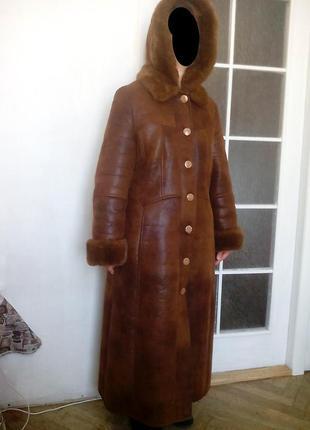 Зимнее пальто new mark с капюшоном. мех.