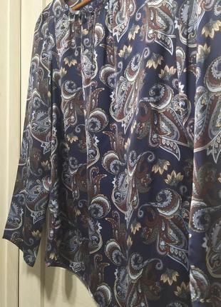 Женская блуза рубашка принт синяя коричневая в огурцах шелковая