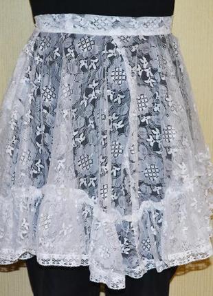 Фартук белый школьная форма фартух ажурный гипюровый