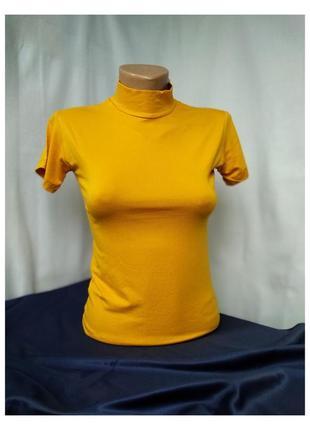Гольф американка, водолазка с коротким рукавом базовая футболка
