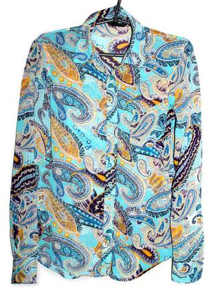 Бирюзовая блуза  шифоновая!