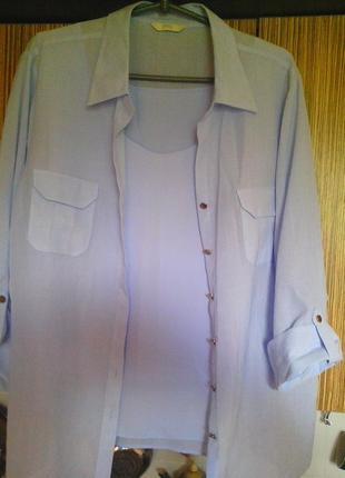 Летний костюм тройка: рубашка, майка, брюки небесно-голубого цвета 22 р.