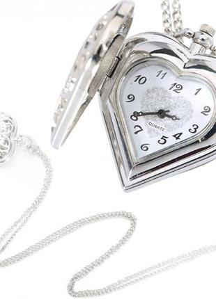 Кулон часы сердце на цепочке