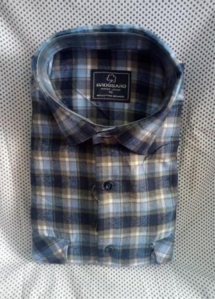 Кашемировая мужская рубашка в клетку с двумя карманами