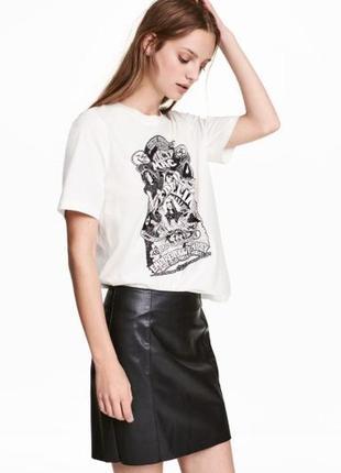 Кожаная юбка карандаш из кожзама экокожи от h&m