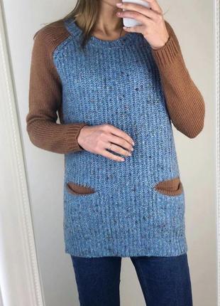 Тёплая кофта туника вязаная коричневая синяя тёплая  с карманами